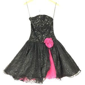 Vintage 80's formal prom ruffle mini dress